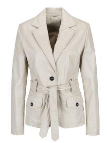 Krémové dámské kožené sako s páskem KARA