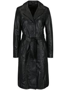 Černý dámský kožený kabát s páskem KARA Riana