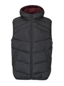 Tmavosivá prešívaná vesta s kapucňou Jack & Jones Landing