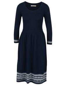 Rochie pulover bleumarin&crem cu model geometric Brakeburn