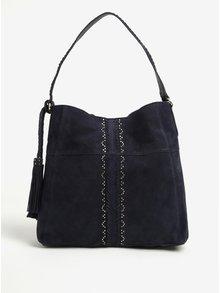 Tmavě modrá semišová kabelka Pieces Japille