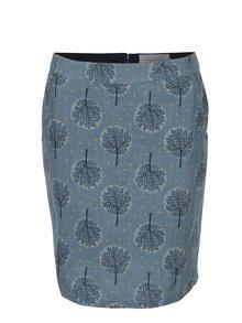 Modrá lněná vzorovaná sukně Brakeburn