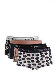 Sada čtyř vzorovaných kalhotek v černo-modré barvě Pieces Logo Lady