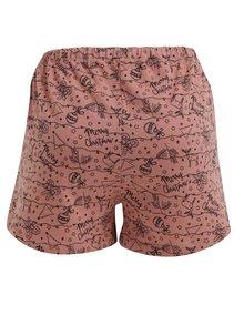 Pantaloni scurti roz de pijama cu print de Craciun - Pieces Cammi