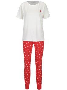 Krémovo-červené pyžamo s vánočním potiskem Pieces Cailin