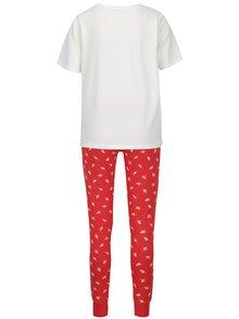 Pijama crem cu rosu cu tricou si pantaloni  - Pieces Cailin