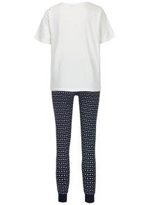 Pijama cu tricou crem si pantaloni bleumarin cu print - Pieces Cailin