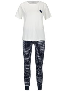 Krémovo-modré pyžamo s vianočným vzorom Pieces Cailin
