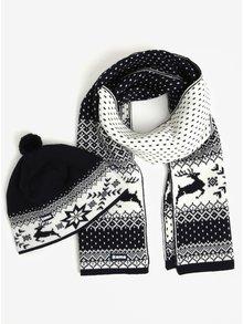 Set de caciula si fular cu motiv norvegian din amestec de lana pentru barbati - Kama