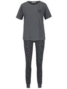 Tmavě šedé pyžamo se srdíčky Pieces Cailin