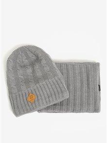 Set dámské vlněné zimní čepice a nákrčníku v šedé barvě Kama