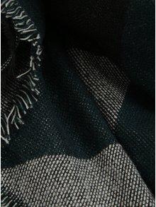 Černo-zelená vzorovaná šála s třásněmi Pieces Jarissa