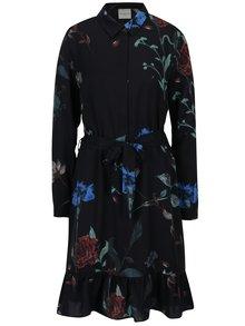 Rochie - camasa neagra cu cordon in talie si print floral - Selected Femme Maluna