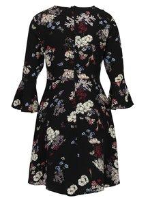 Čierne kvetované šaty so zvonovými rukávmi AX Paris