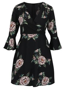 Rochie neagra cu print floral si decolteu suprapus - AX Paris