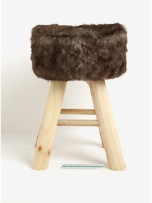 Scaun maro din lemn cu blana artificiala - Kaemingk
