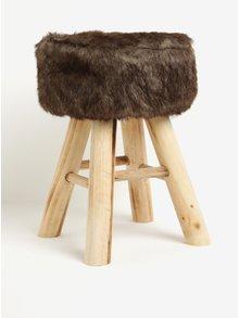 Hnědá dřevěná stolička s umělou kožešinou Kaemingk