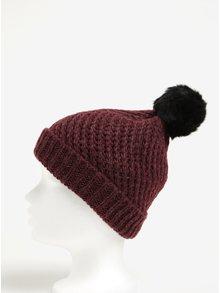 Caciula tricotata bordo & negru cu pompon - Pieces Jokima