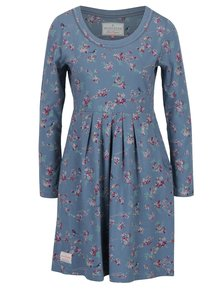 Rochie albastra cu print si maneci lungi - Brakeburn