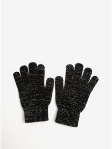 Černé rukavice se vzorem ve stříbrné barvě Pieces Rubi