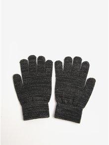 Tmavě šedé rukavice se vzorem ve stříbrné barvě Pieces Rubi