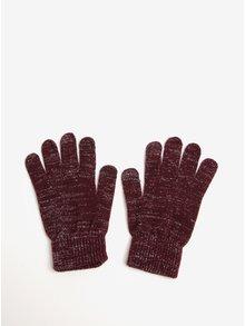 Vínové rukavice se vzorem ve stříbrné barvě Pieces Rubi