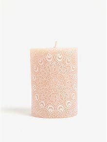 Růžová svíčka se vzorem Kaemingk