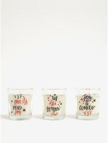 Sada tří svíček ve skle s potiskem Kaemingk