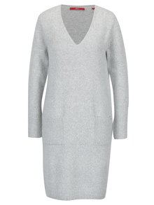 Světle šedé dámské žíhané svetrové šaty s kapsami s.Oliver
