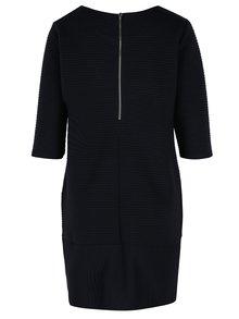 Tmavomodré rebrované šaty s 3/4 rukávom Fever London Freya