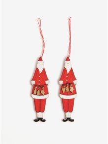 Súprava dvoch červených drevených ozdôb v tvare Santa Clausa Sass & Belle Nordic Santa