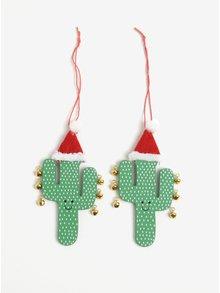 Súprava dvoch zelených drevených ozdôb v tvare kaktusov s rolničkami Sass & Belle Festive Happy
