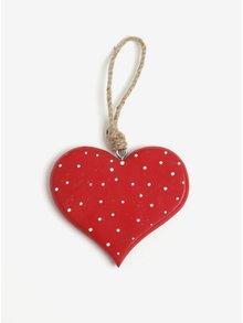 Červená závěsná dekorace ve tvaru srdce s puntíky Sass & Belle Fairy