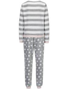 Pijama roz & gri  cu model pufos - Dorothy Perkins