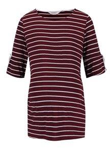 Krémovo-vínové pruhované těhotenské tričko Dorothy Perkins Maternity