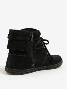 Čierne zimné členkové vodovzdorné semišové topánky UGG Reid