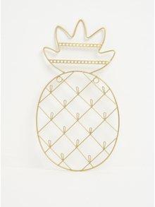 Závesný stojan na šperky v tvare ananásu v zlatej farbe Sass & Belle Gold Cactus