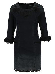 Tmavosivé rifľové šaty s výšivkou a čipkou Desigual Agnés