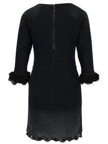 Tmavě šedé džínové šaty s výšivkou a krajkou Desigual Agnés