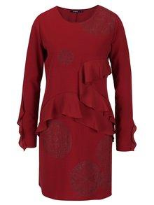 Vínové šaty s potiskem a volány Desigual Flopo