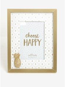 Fotorámeček s motivy ananasu ve zlaté a krémové barvě Sass & Belle Touch of Gold Pineapple