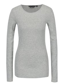 Světle šedé žíhané tričko s dlouhým rukávem Dorothy Perkins