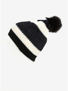 Modro-čierna pruhovaná čiapka s brmbolcom ONLY Annica