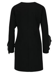 Čierne šaty s potlačou a volánmi Desigual Flopo