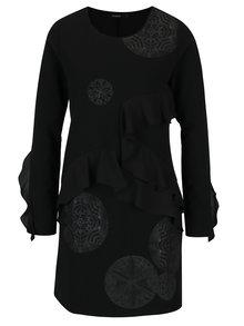 Rochie neagra dreapta cu volane asimetrice Desigual Flopo