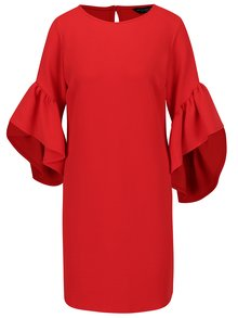 Červené šaty s volány na rukávech Dorothy Perkins