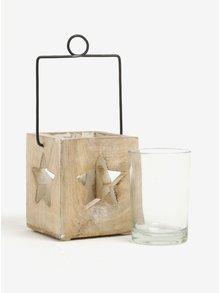 Svetlohnedý závesný svietnik s otvormi v tvare hviezd Sass & Belle Cubic