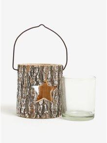 Hnedý závesný svietnik s otvormi v tvare hviezd Sass & Belle Winter Star