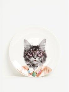 Biely porcelánový tanier s potlačou mačky Mustard