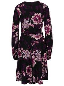 Fialovo-černé květované šaty s překládaným výstřihem Dorothy Perkins